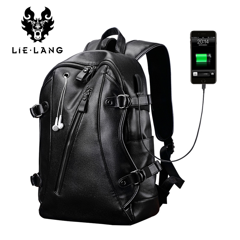 LIELANG Men Backpack External USB Charge Waterproof Backpack Fashion PU Leather Travel Bag Casual School Bag For Teenagers lielang men pu leather backpack waterproof large capacity 14 inch laptop bag usb charge camouflage backpack bag mochila rucksack