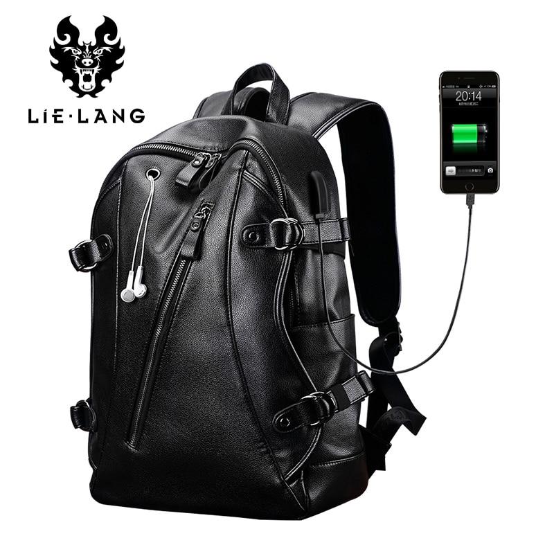 LIELANG Men Backpack External USB Charge Waterproof Backpack Fashion PU Leather Travel Bag Casual School Bag For Teenagers