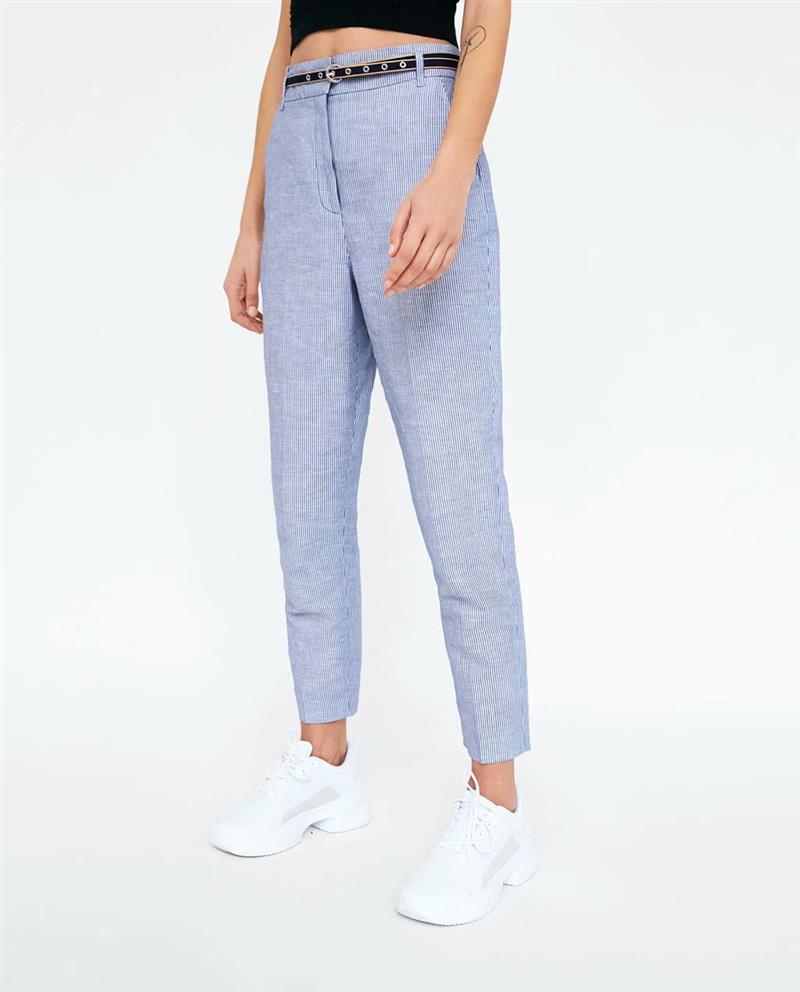 2018 Autumn Woman Office Working Pants High Waist Slim Formal Trousers OL Striped Pants 8