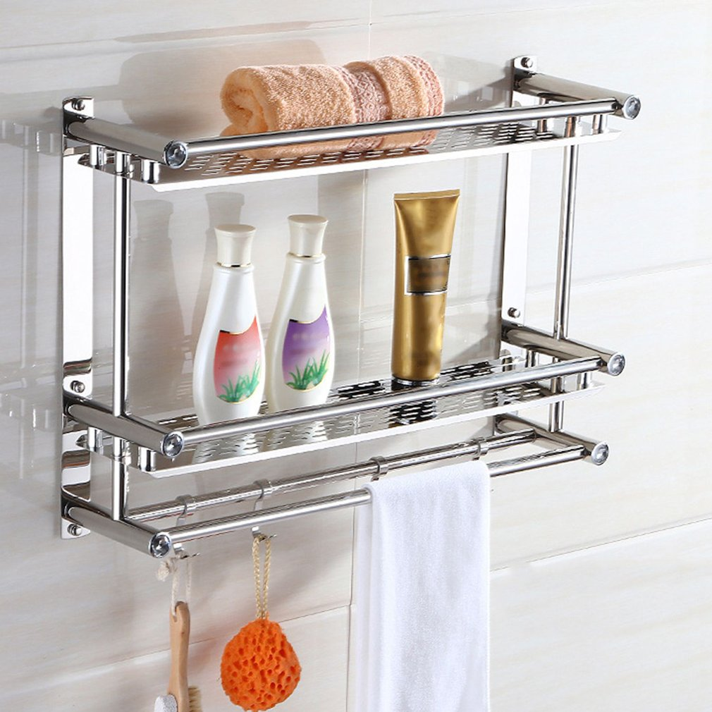 Bath Towel Shelf Rack Bathroom Holder Double With Hooks Anti-rust Wall Mounted Hanging Washbasin Washroom Storage Sorting a1 hotel bathroom washbasin wall hanging solid thickening rack space aluminum wall hanging storage rack wx7201648