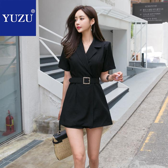 Rompers Womens   Jumpsuit   Office Work Business Korean Style Black With Belt Blazer Short Sleeve Overalls Summer Short   Jumpsuit