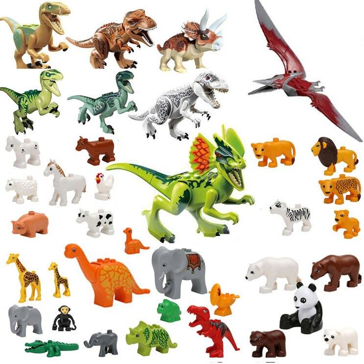 Duplos Animal Park Model Figures Big Building Block Sets Dinosaur Elephant Lion Crocodile Ocean world toys for kids african elephant