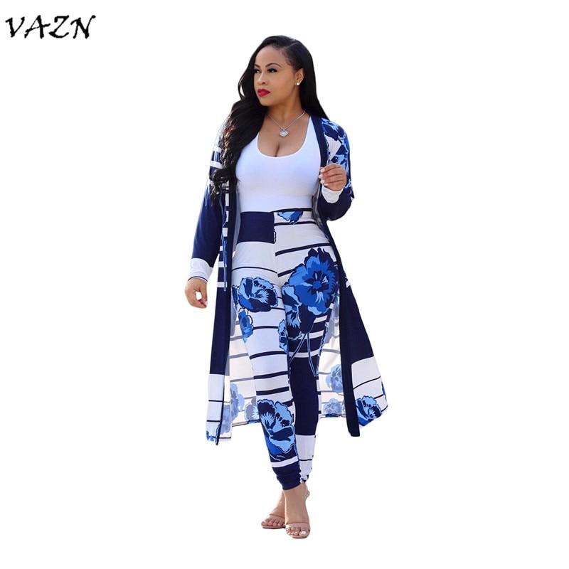 VAZN Hot Fashion Eleganten Stil 2018 Casual 2 stück Frauen Set Drucken Volle Hülse X Lange Outwear Lange Hosen Bodycon Set CM202
