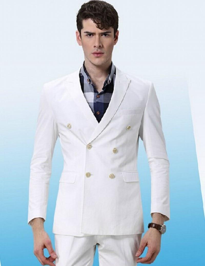Double-Breasted Groomsmen Peak Lapel Groom Tuxedos White Mens Suits Wedding Best Man (Jacket+Pants+Tie+Hankerchief) B713