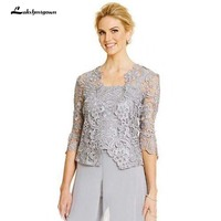 3 Pieces Mother of the Bride Pant Suits Silver Custom Made Spaghetti Straps Top Long Pants Sheer Lace Jacket with Sleeves