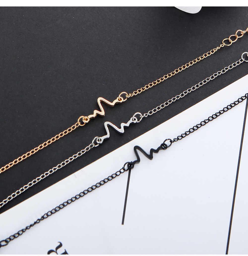 2019 New Arrivals moda Hot proste fale ekg błyskawica bransoletki dla kobiet i mężczyzn biżuteria lato styl plaża jn509