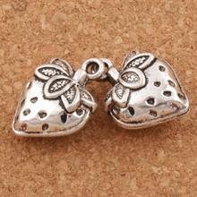 3D Strawberry Fruit Charm Beads 14.5x20mm 64PCS Tibetan Silver Pendants Fashion Jewelry DIY L937