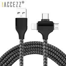 !ACCEZZ 3 In 1 USB Charging Cable For IPhone X XS MAX XR 8Pin Micro USB Type-C Charge Data Line For Redmi Huawei LG Charger Cord недорого