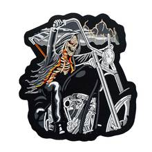 Death sickle motorcycle large backing Embroidered Sewing Label punk biker Patches Clothes Stickers Apparel Accessories Badge