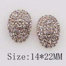 10pcs /lot 14mm*22mm oval rhinestone metal button clothing decoration wedding home invitation craft supplies