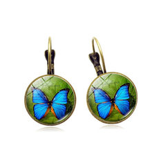 2018 Spring Butterfly Earrings Silver Color French Lever Back Glass Cabochon Copper Earrings For Women Vintage Earings gift(China)