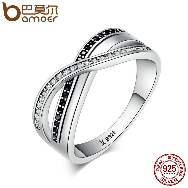Bamoer Luxury 925 Sterling Silver Endless Beauty Twisting Wave Cubic Zircon Finger Ring For Women Engagement Jewelry Gift Scr081