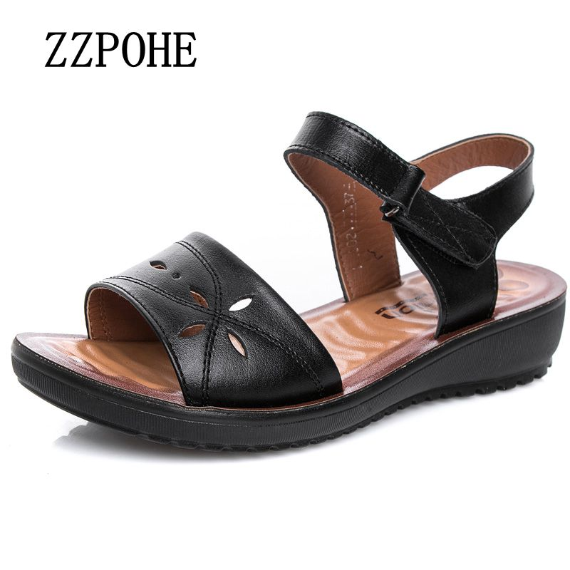 ZZPOHE Summer moms fashion sandals flat non-slip breathable soft leather hollow sandals middle-aged large size ladies sandals 40 цена 2016