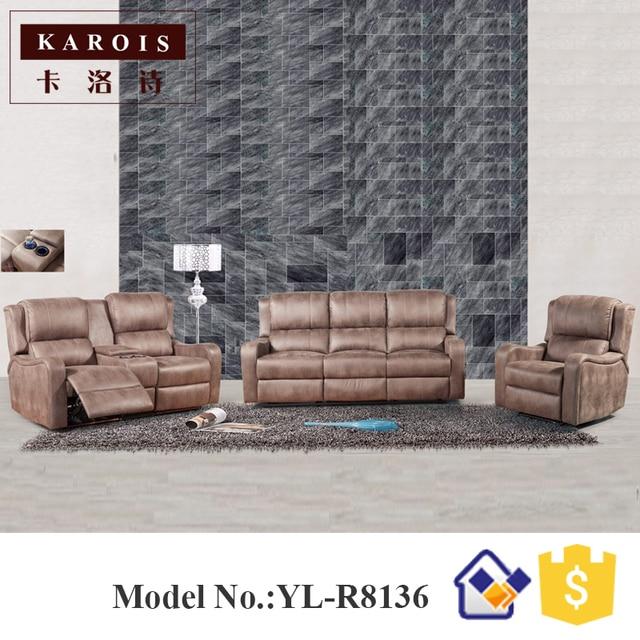 Eléctrico moderno sofá reclinable sofá de cuero italiano conjunto 3 ...