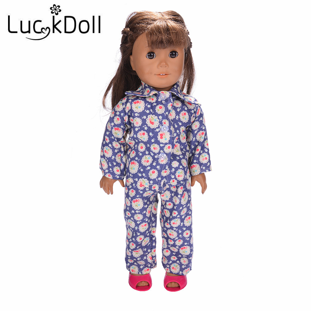 Luckdoll Cherry Print Pajamas 14.5-Inch American Girl Doll Wellie Wherhers, Childrens Holiday Gift