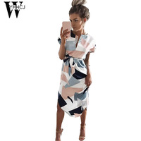 WYHHCJ 2017 New V Neck Casual Summer Dress Short Sleeve Geometry Print Women Dress Bodycon Sashes