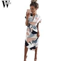 WYHHCJ 2017 New V Neck Casual Summer Dress Short Sleeve Geometry Print Women Dress Bodycon Sashes