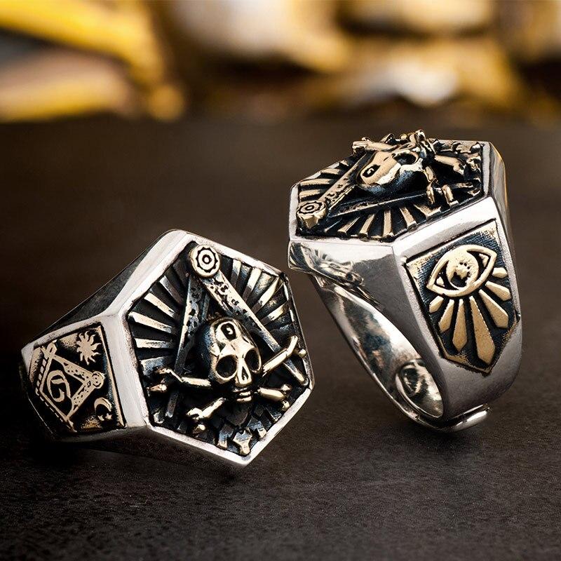 925 Silver Masonic Ring For Men hexagon skull Freemason Totem Jewelry цены