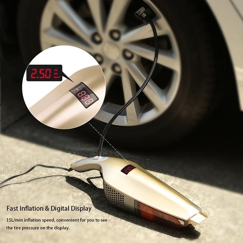 Auto 3 In 1 Car Vacuum Cleaner Fast Tire Inflator Vacuum Dry Wet Handheld Dust Buster LED Digital Display Tire Pressure Gauge
