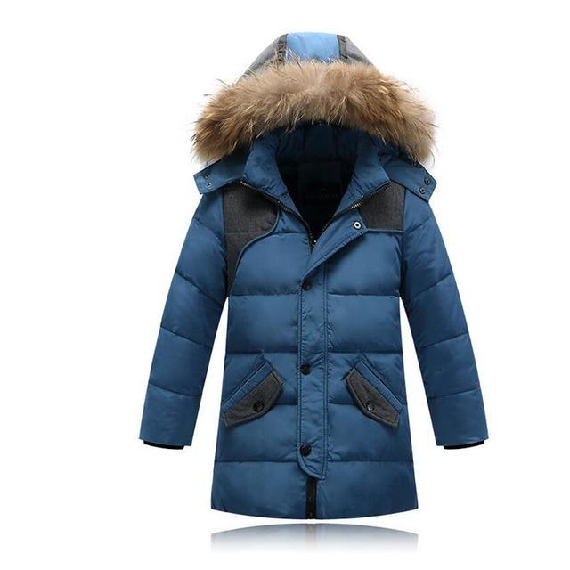 2016 children duck down outerwear   Boys winter jacket  kids coat with fur hood long warm thick winter coats