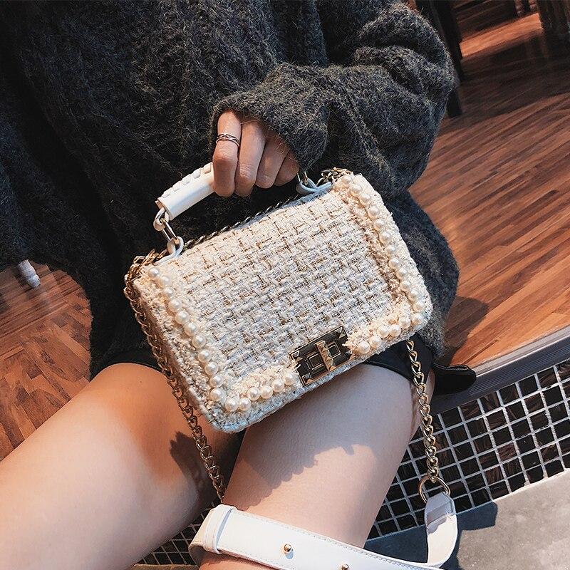 Small Fragrance Pearl Woolen Bag 2019 Fashion New Women Handbags High Quality Woolen Female Bag Lady Temperament Shoulder Bag