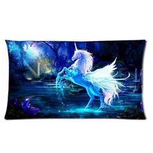 Таежный Белый Единорог Лошадь на Озере Радуга Лунный Свет Простой Дизайн Прохладный Бросьте Наволочку Крышка Две Стороны Печати Поясничного