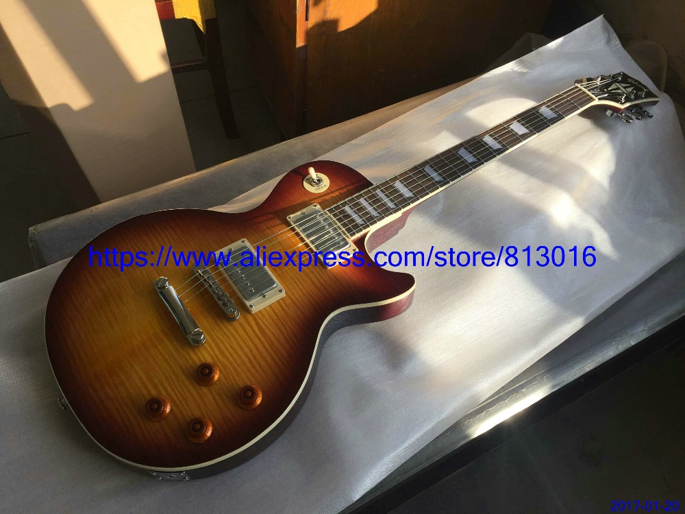 New Arrival electric guitar,LP standard,tobacco burst,M.T. letters on body back,chrome parts,no pickguard,free Shipping effects of tobacco on oral tissues