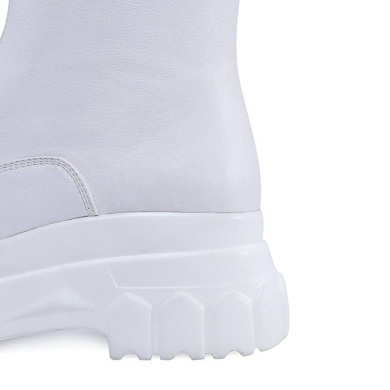 Véritable Cheville Blanc D'hiver Grande Noir Cuir Femmes Taille Imperméables En Bottes 41 Nemaone Fond Éclair blanc 42 Épais Femelle Fermeture Noir 8qOwxqAP