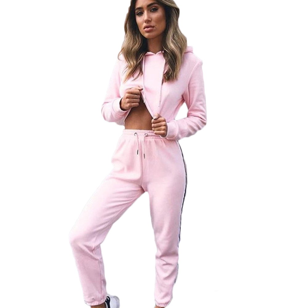 Long Sleeve Hooded Crop Tops and Pants 2017 Striped Patchwork Fashion 2 Piece Set Women Autumn Tracksuits Pink Joggers Jumpsuits