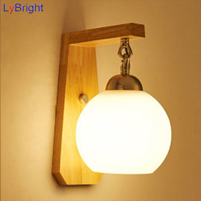 Modern Glass Wood Wall Lamp AC 90 260V Creative Indoor Wall Light ...