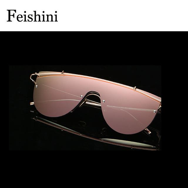 FEISHINI Designer Loja Contadores protetor Ocular Óculos De Sol Das Mulheres 2017 Óculos de Alta Qualidade UV Óculos de Proteção Um Rosto modificado