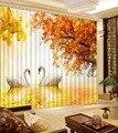 Декоративные затемненные занавески на заказ  занавески с изображением лебедя дерева  3d занавески для гостиной  спальни  окна  Звукоизолиров...