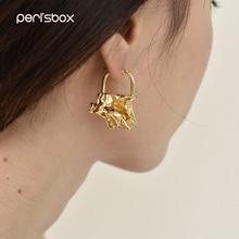 Peri'sBox Instajewelry Solid Gold Wrinkled Hoop Earrings for Women Chic Abstract Earrings Irregular Statement Earrings Celebrity pair of chic rhinestone hoop earrings for women