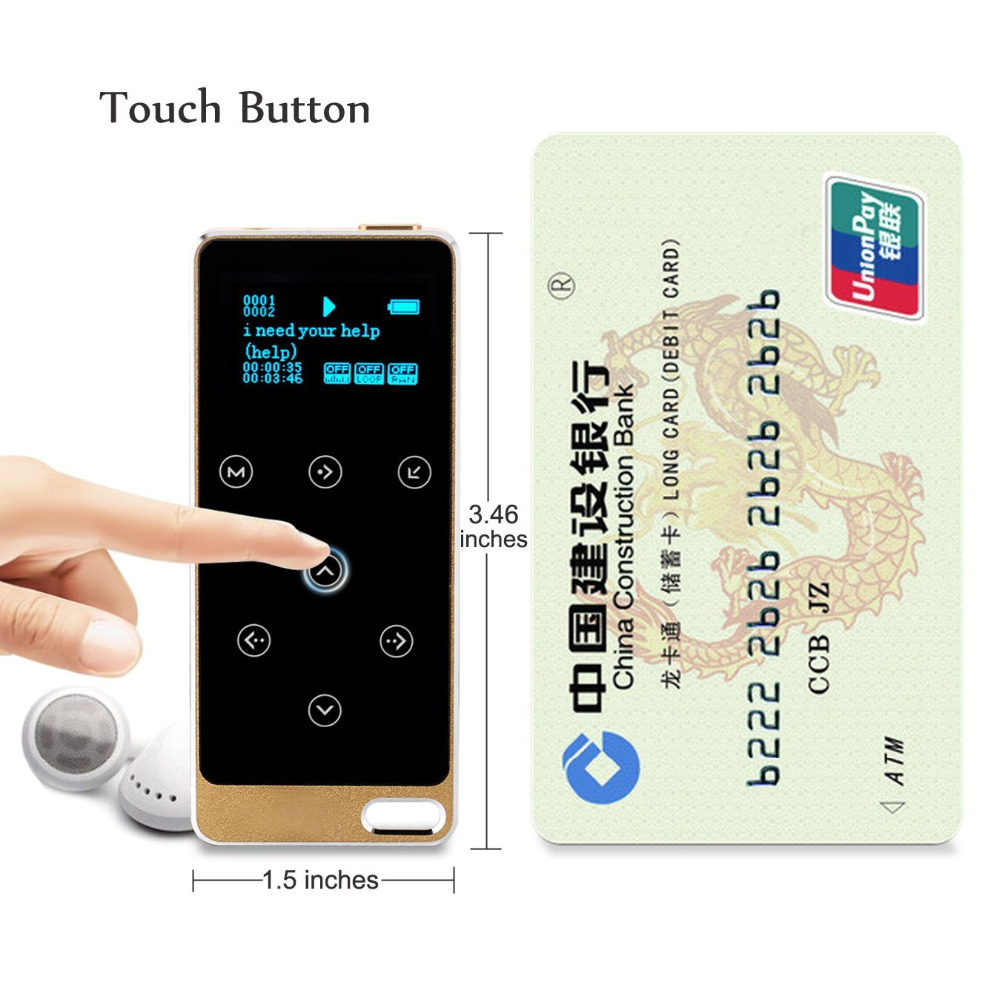 2017 Metal HIFI MP3 Player with 8GB storage and Screen Touch button play 100h high quality Lossless sound quality sport mp3 Gold