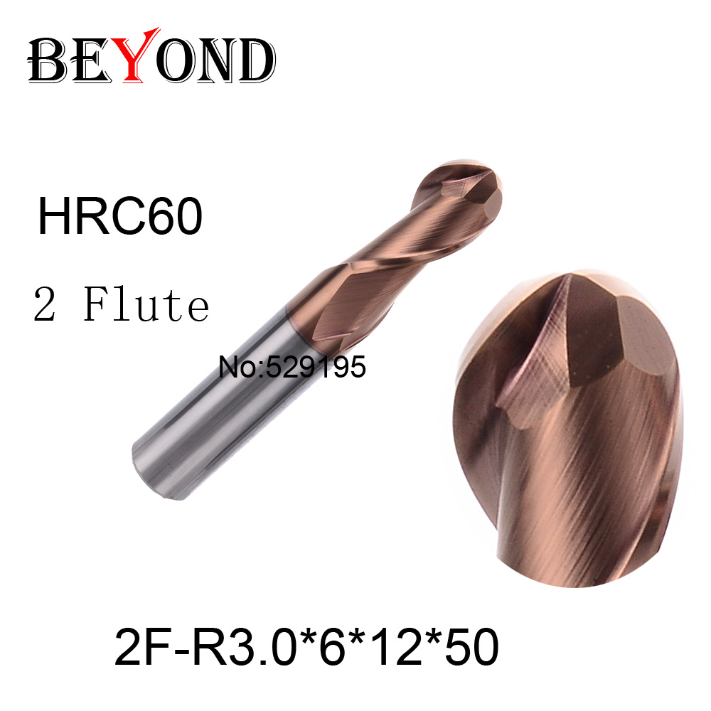 2f-r3*6*12*50,hrc60,material Carbide Square Flatted End Mill four 2 flute 6mm coating nano use for High-speed milling machine