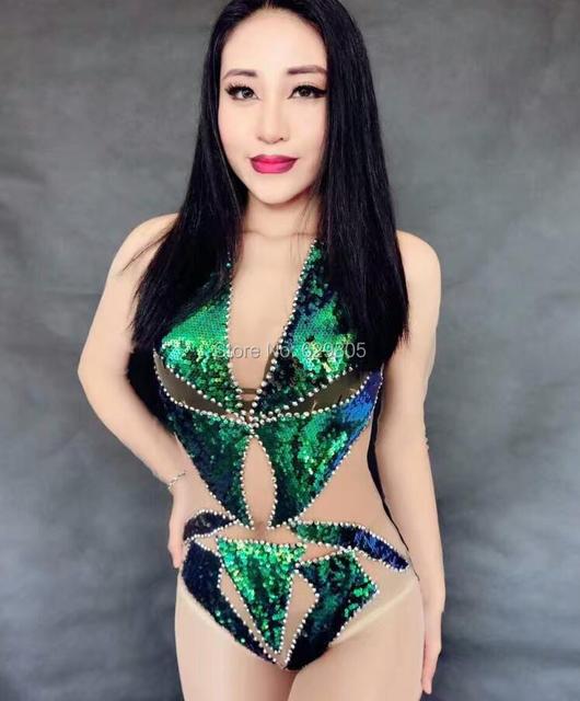 Sexy green bodysuit