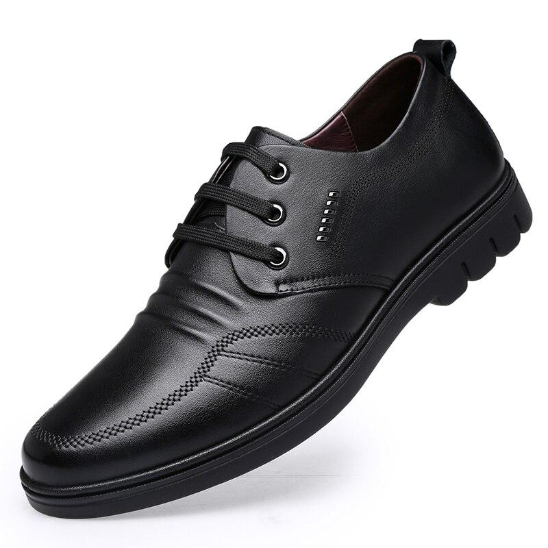 Fashion Men Genuine Leather Shoes Lace Up Casual Footwear Men Soft Face Flat Base Shoes