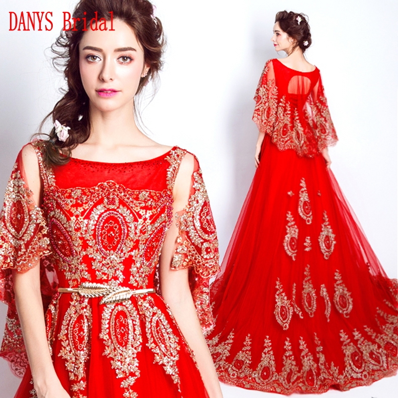 Red Long   Evening     Dresses   with Cape On Sale A Line Party Turkish Formal   Evening   Gowns   Dresses