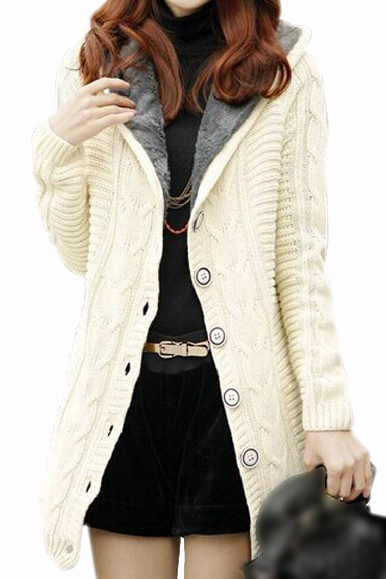 New Womens Cardigan Knit Hoodie Mid long Sweater Hooded Sweatshirt ...