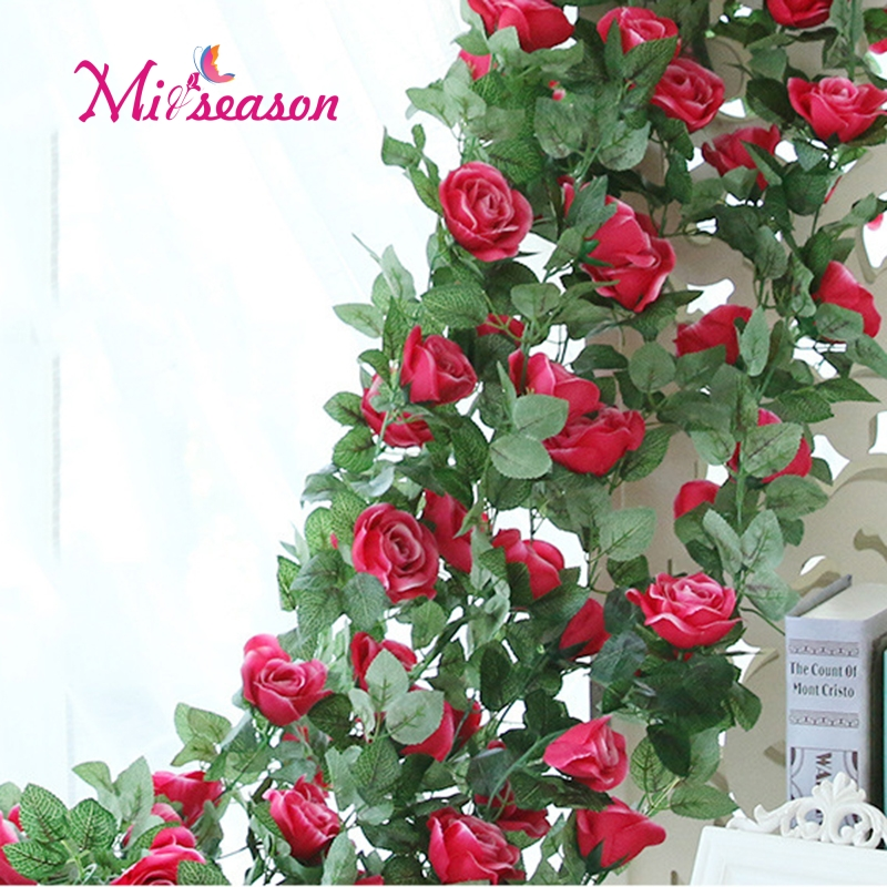 Hot Sale 225cm Silk Rose Ivy Vine With Green Leaves For Home Wedding
