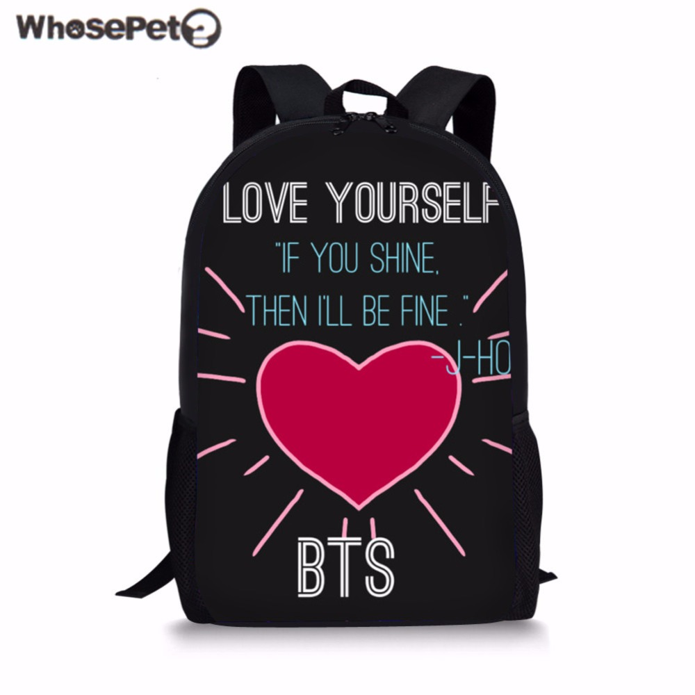 WHOSEPET Children School Bag Mochila BTS Kpop Schoolbag Girls Bookbag Kids Primary Backpack Teenager Travel Rucksack Mochila New