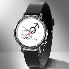 купить 2019 new simple fashion black and white geometric watch men and women students couple Korean version of the trend watch quartz w дешево
