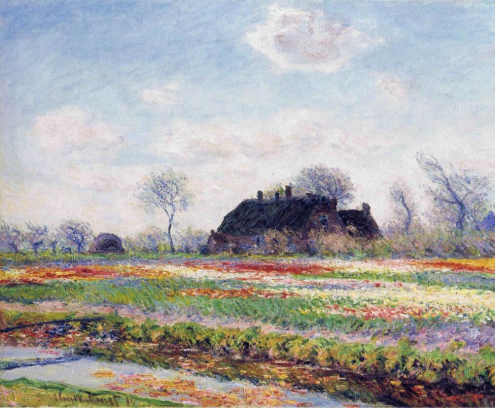 High quality Oil painting Canvas Reproductions Tulip Fields at Sassenheim, near Leiden (1886) By Claude Monet hand painted