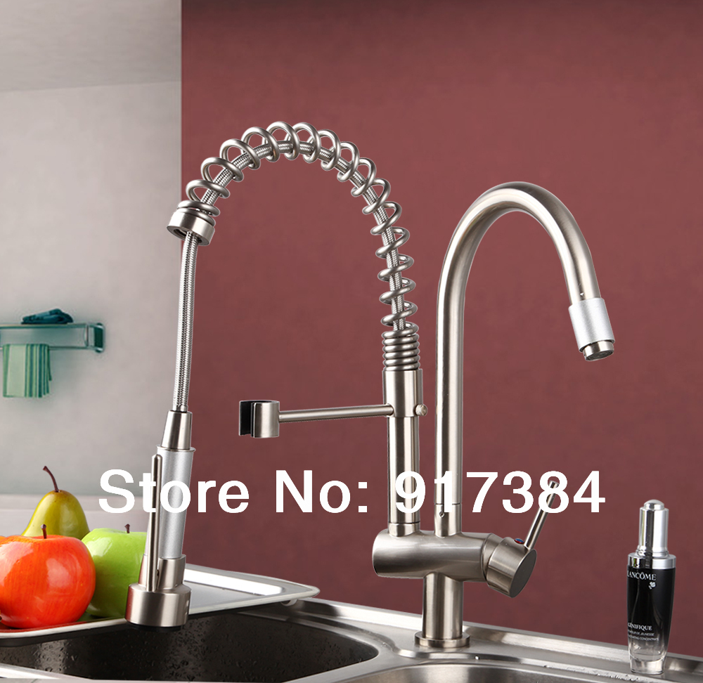 Double Spout Deck Mounted  Ceramic Single Handle Nickle Brushed Finish  Brass Body Polish Kitchen Mixer Tap Faucet CM-8525 popular led brushe nickle kitchen faucet one hole single handle deck mounted mixer faucet
