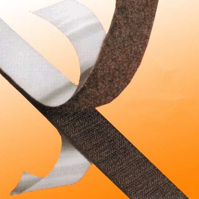 2M*20mm width Sticky Self Adhesive Hook and Loop Tape Fastener Strip Solid Black With High Quality  AA7327
