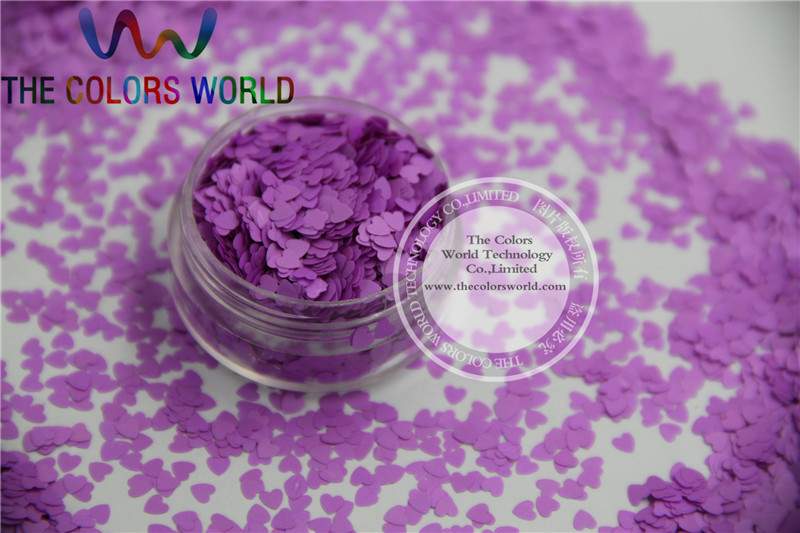 Solvent resistant - Neon  Purple Color heart-shaped Glitter Spangles for Nail Polish and Other DIY decoration 1Pack =50g tcf510 solvent resistant neon rose carmine color mickey mouse shape spangles for nail polish and other diy decoration1pack 50g