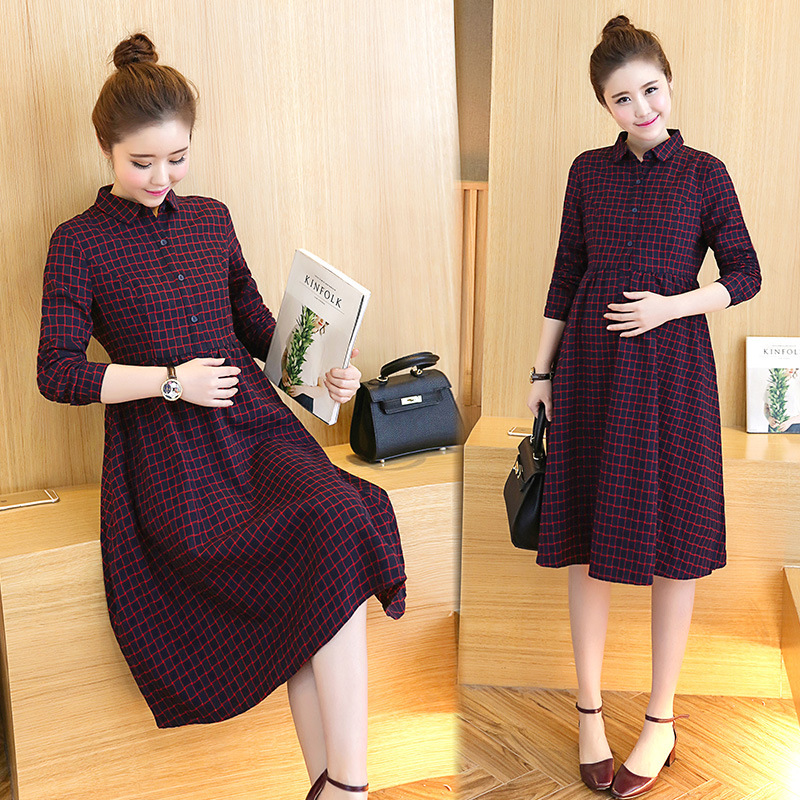 Envsoll 2018 Autumn New Maternity Dress High Waist Loose Long Plaid Long Sleeve Dresses Pregnancy Clothes For Pregnant Women [eam] high quality 2018 autumn spliced organza loose lace up long section double layer collar plaid skirt fashion new set la406
