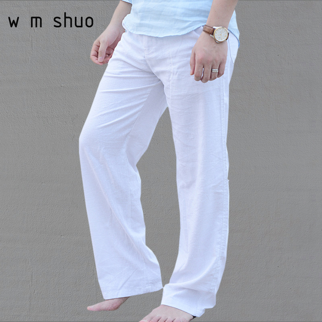 d1d876e8b313 Men s Summer Casual Pants Natural Cotton Linen Trousers White Linen Elastic  Waist Straight Pants Y052