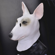High Quality Fancy Animal Latex Bull Terrier Dog Mask for Adult Halloween Party