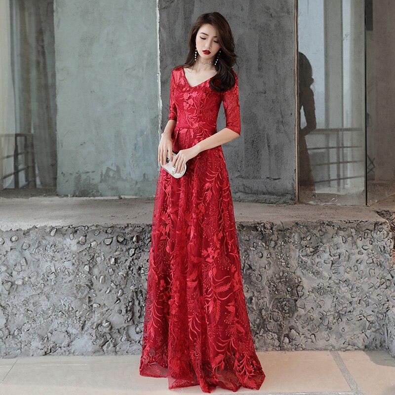 Robe de soirée formelle col en v imprimé demi manches longueur au sol robe de soirée à lacets dos élégant robes de bal